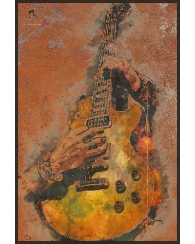 Obraz na rdzy metalowy plakat vintage GITARA