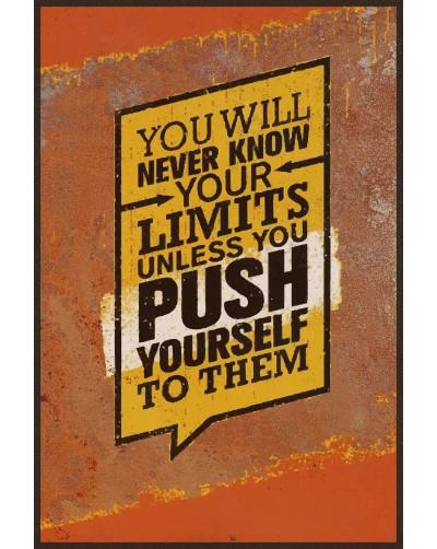 Obraz na rdzy metal poster loftowy PUSH YOURSELF