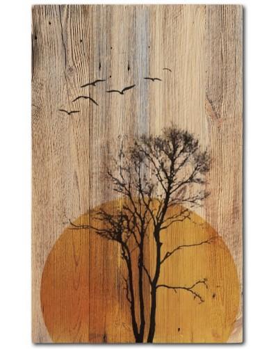 Obraz rustykalny na litym Drewnie ZACHÓD SŁOŃCA
