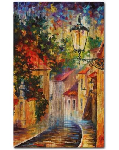 Obraz rustykalny na litym Drewnie ULICE MIASTA